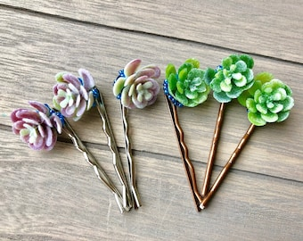 Buy 2 Get 1  Free --- Succulent Hair Pins -:- Faux Plant - Greenery - Nature - Bridal - Bridesmaids Hair Clips - Silver Tone  Antiqued Brass