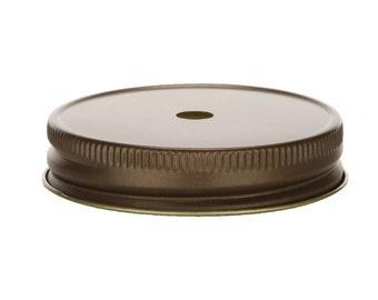 12 pcs Antique Bronze Mason Jar Lid with Straw Hole for Regular Mouth Mason Jars