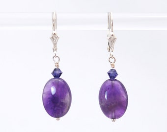 Amethyst earrings / Deep Purple Amethyst earrings / Amethyst Silver earrings / Lever Back earrings / Purple earrings / Amethyst ovals
