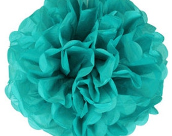 Teal Green Tissue Pom Poms 6, 8 or 10 inch Set of 2 /Weddings/Showers/Birthdays/Parties