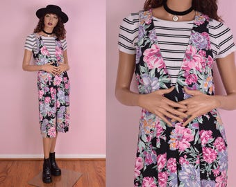 80s Floral Print Jumpsuit/ Medium/ 1980s