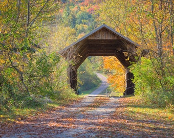 Covered Bridge Photograph - Vermont Autumn Print - Landscape Print - New England Autumn - Foliage Photography - Underhill, VT - Fall Leaves
