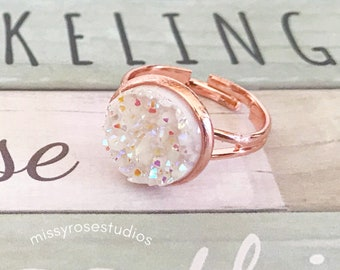 chunky statement ring, boho rings, rose gold ring, druzy jewelry, jewelry handmade, white stone ring, statement jewelry, handmade ring