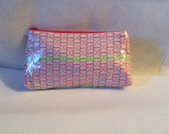 Pink and Green Snaffle Bit Equestrian Horse Makeup Bag Purse Kentucky Derby