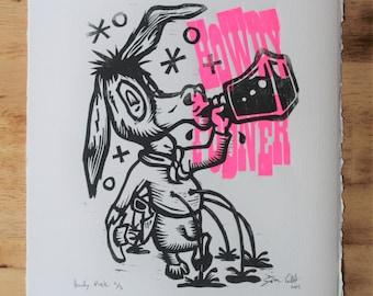 Howdy Podner Original Linocut Print
