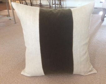 Custom oatmeal linen and olive green mohair stripe pillow cover