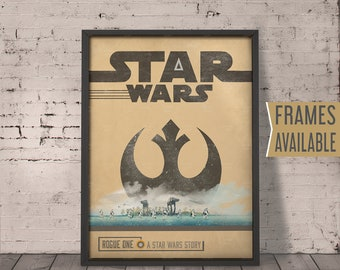 STAR WARS Rogue One Movie Poster * Retro Vintage Minimal Design Wall Art Print , Gift For Him , Gift For Her ***FRAMES Available***