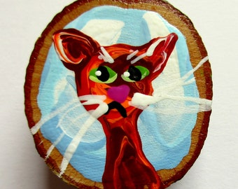 Magnet Hand-painted Art Cat Miss Ginger