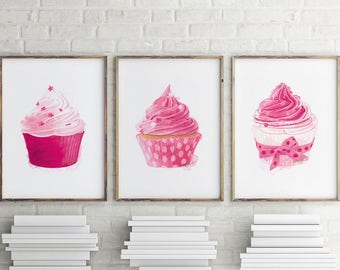 Cupcake Print, Set of 3 Prints, Kitchen Decor, Cupcake Painting, Pink Decor, Candy Print, Living Room Wall Art, Kitchen Wall Art