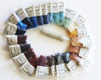 Seed Beads - Size 11/15 - Wide Variety of Colors 23 Individual Packs of Size 11 Beads - 6 packets Size 15 Beads - Group of 23 Colors at 50%