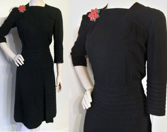 """Swank 1940s Utility rayon crepe dress w/tucked details  waist 27"""" Tall Double Eleven label"""
