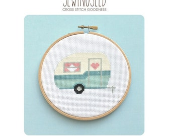 Retro Camper, Vintage Travel Trailer Cross Stitch Pattern Instant Download, Adventure, Road Trip, Camping