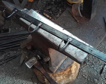 4 Hook Coat Rack- Hand Forged- Copper Rivets