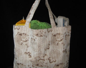 Koi and Chrysanthemums Design Heavy Duty Grocery Market or Equipment Tote Tan