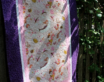 Purple Mermaid Baby Girl Quilt with Stuffed Seahorse Toy // Baby Gift // Gift for Baby // Toddler Gift // Baby Shower Gift //