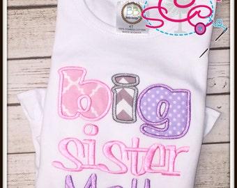 Personalized Big Sister Shirt/Bodysuit--Pink, Purple, and Grey Big Sister Shirt--Big Sister Shirt--Siblings Shirt