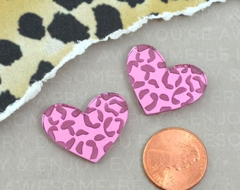 LARGE LEOPARD HEART Cabs - Set of 2 PInk Mirror Cabochons in Laser Cut Acrylic