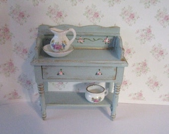 Dollhouse washstand, Twelfth scale Washstand, jug and bowl, potty,  accessories, a twelfth scale dollhouse miniature