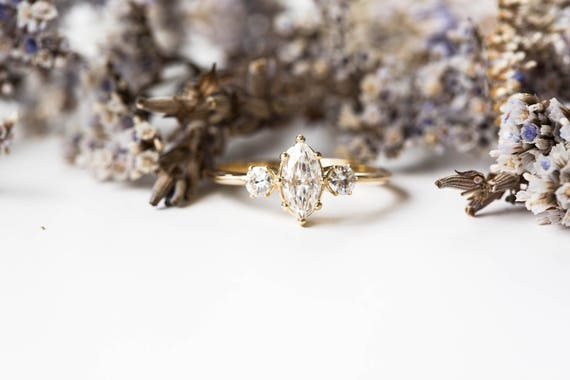 Marquise moissanite engagement ring, 14k gold engagement ring, three stone engagement ring, alternative engagement ring, marquise ring