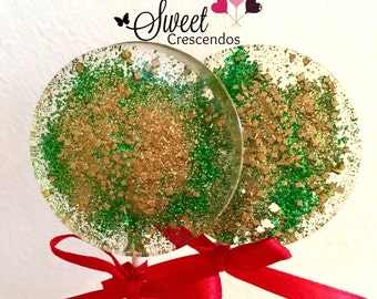 Glittery  Green and  Gold Glitter - Hard Candy Lollipops- Birthday - Bridal Shower- Wedding -Baby shower