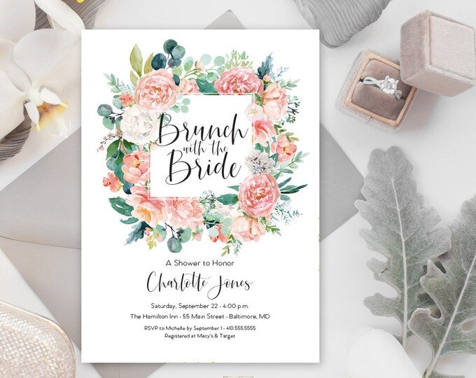Pink Floral Greenery Bridal Shower Invitation - Brunch with the Bride - Garden Shower - Peony Roses Blush Invitation Watercolor Printable