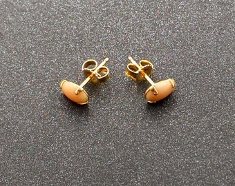 Pink Coral 14KT GOLD Stud Post Earrings
