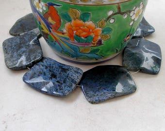 Dumortierite Bead Large Rectangle Denim Blue Gemstone For Beaded Jewelry Making Metaphysical Healing Stones
