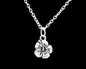 Gift For Her, Hibiscus Necklace, Flower Garden Gardener Gift Necklace