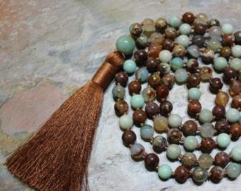 Boho Tassel Necklace, Mala Tassel Necklace, Long Tassel Necklace, Boho Necklace Long, Boho Necklace Beaded, 108 Mala Beads, Mala Necklace
