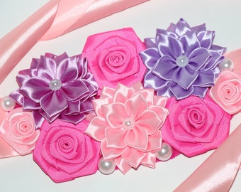Pink and purple Maternity Sash Girl Maternity Sash Pregnancy Sash Flower Sash Belly Maternity Belt Valentines gift Wedding Mommy sash belt