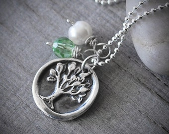 Personalized Silver Tree of Life Necklace with Birthstone Crystal and Pearl -  Sterling Silver Chain - .999 Fine Silver Tree Charm