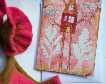 Birdhouse Notecards, Bird Notes, Mixed Media Notecards, Rose pink notecards, cute note cards, cute notecards, aviary bird card pack