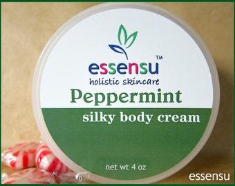 Peppermint Essential Oil Aromatherapy Silky Rich Luxury Body Cream | Rejuvenating Spa Formula | Nourishing | Natural Body Moisturizer - 4 oz