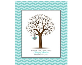 Chevron Baby Shower Thumbprint Tree with Chevron Faux Mat, Guest Book Alternative, Baby Guestbook, Nursery Decor 11X14