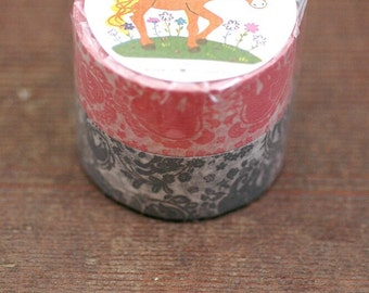 Mihani Kobo x Classiky Washi Masking Tape - Surrounded by Garlands - Set of 2 in Pink & Gray