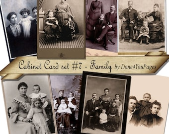 Cabinet Card Set 7 - Family - Printable Collage Sheet INSTANT Download for altered, collage, steampunk, art, cards, ACEO - JPG