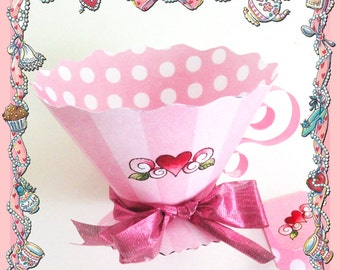 Fancy Nancy Teacup Party Favors / DIY Pattern Template / Tea Cup Pink Stripes & Polka Dots / Decoration Shower Birthday High Tea / Pink Cup