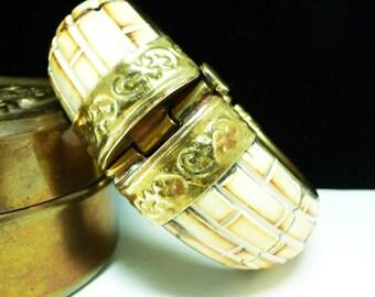 Carved Bone Hinged Bangle Bracelet - Tribal Brick Pattern Etruscan - 1970's Vintage Jewelry - Pin Clasp - Vintage Brass