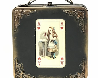 AliCE in WONderland purse lunch bento box case white  Time party Steampunk style