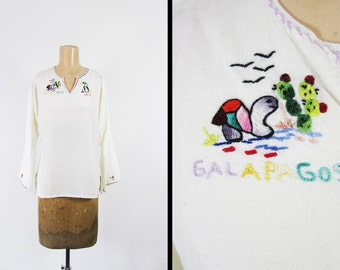 Vintage 60s Galapagos Hippie Shirt Handmade Embroidered Cotton Linen - Small / Med