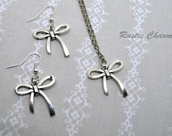 Cute Silver bow earrings and/or necklace set