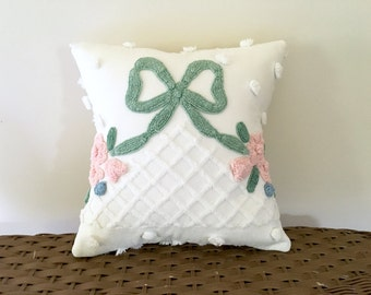 pink roses pillow cover RIBBONED ROSES 12 X 12 inches, cottage style shabby cushion cover vintage chenille