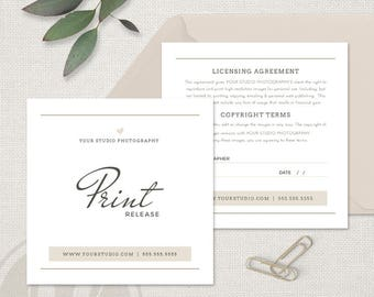 Photographer Print Release - Photography Print Release Template, Photographer Forms, Photography Forms, Photo Release Form