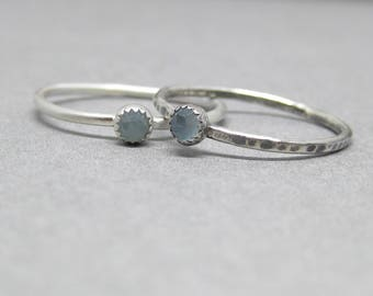 Aquamarine - sterling - silver - stacker - ring - custom - personalized - ring for her - March birthstone ring - March birthday gift