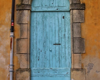 Fine Art Photography, old wooden painted door, blue peeling paint, terracotta, ochre, Arles, France, 8x12