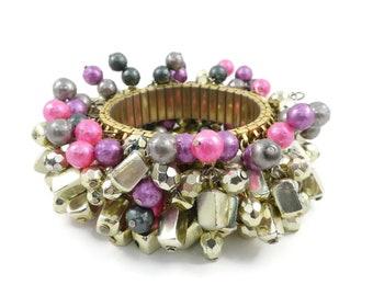 Vintage, Cha Cha Bracelet, Pink Purple, Gold Tone, Beads, Accordion, Stretch
