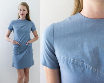 Vintage Mod Dress | 60s Mod Dress | Blue Dress | Sleeveless Dress | Size: Small