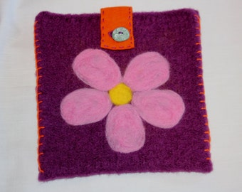 Wool Felted Pouch - Pixie Pink Flower