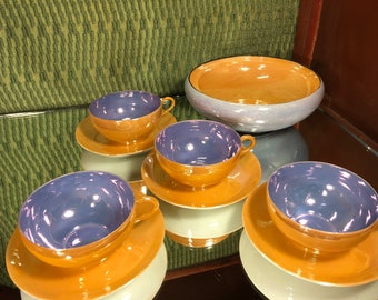 Set of Japanese Art Deco Lusterware Four Tea Cups with Saucers and One Candy Dish