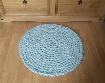 Handmade Crocheted Round Rag Rug, Eco Friendly Upcycled Rug, Rag Rug, Eco Rug.